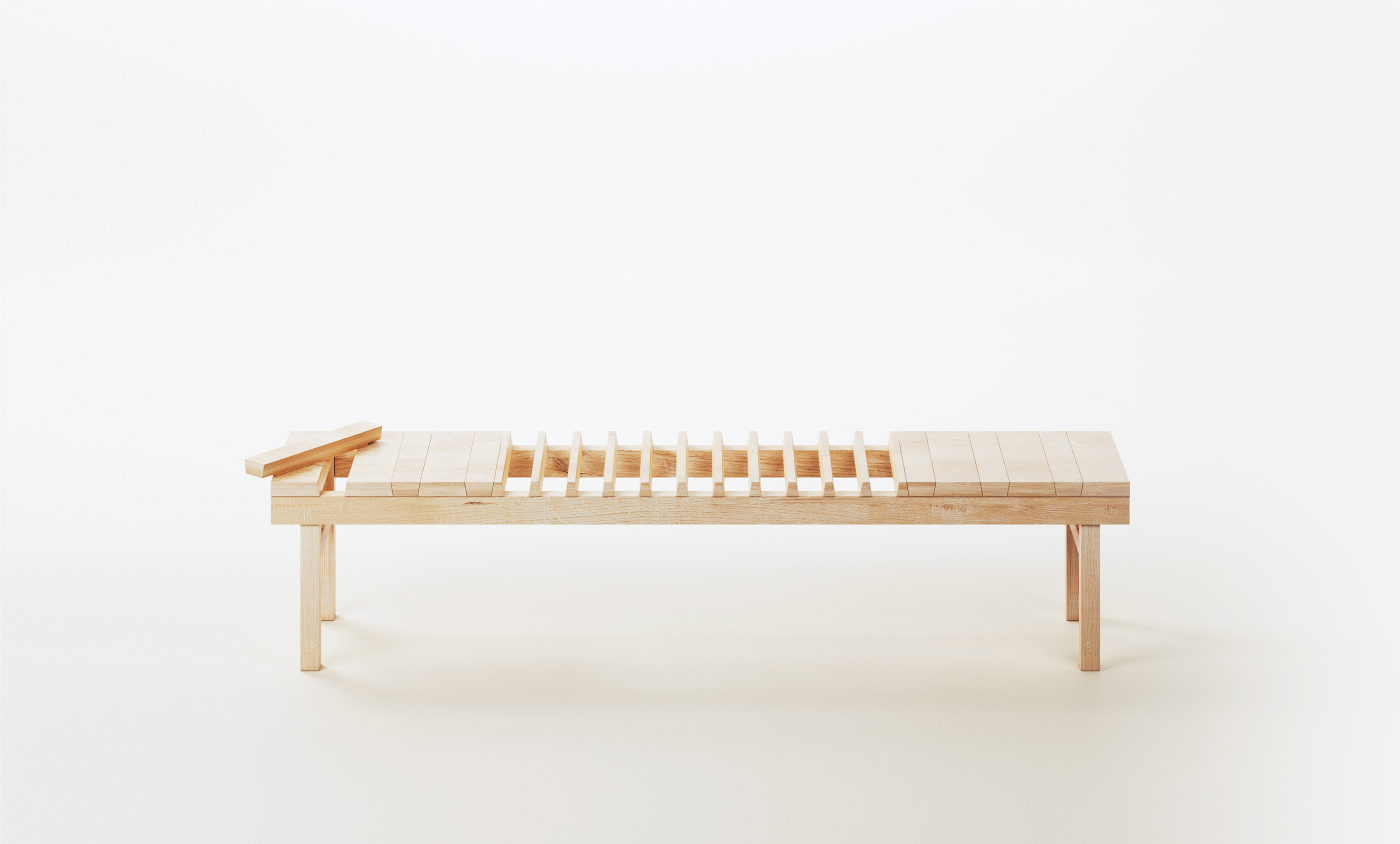 A—part le banc de distanciation par Oxymoro Design
